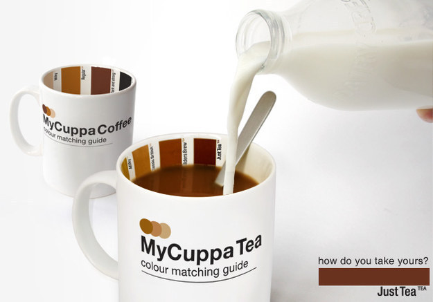 A mug that helps you pour in just the right amount of milk.