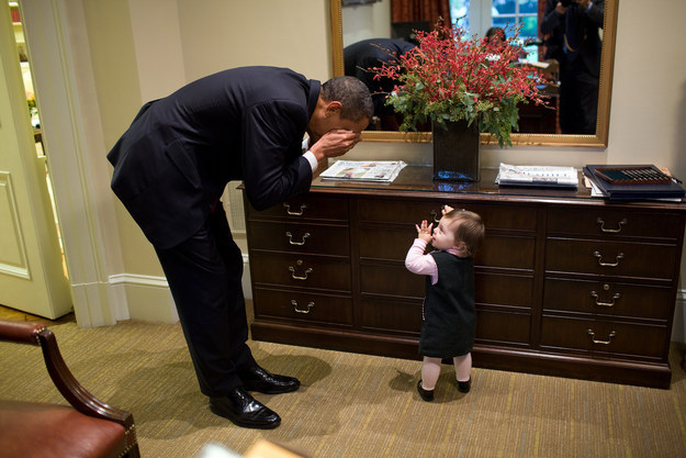 But Obama seems to genuinely enjoy his time goofing off with tiny, adorable mini-people.