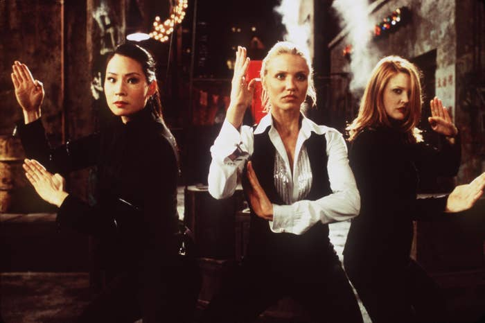 Alex (Lucy Liu), Natalie (Cameron Diaz), and Dylan (Drew Barrymore) in Charlie's Angels.
