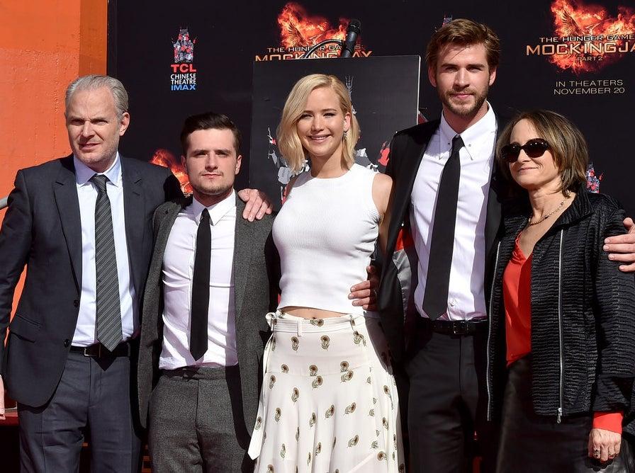 Francis Lawrence, Josh Hutcherson, Lawrence, Liam Hemsworth, and Nina Jacobson