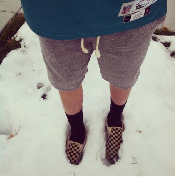 Dear Men Of America, It's Too Cold To Wear Shorts