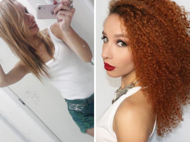 Em um ano, Bruna passou do cabelo alisado para cachos lindos e não parou mais: nesta foto de antes e depois, a diferença é de quase três anos e quanta diferença! Veja aqui a história de Buh.