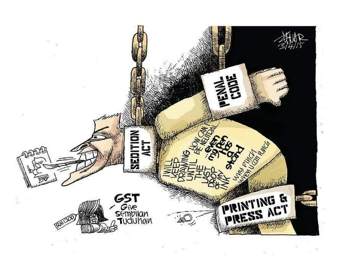 Zunar drew this cartoon in March after being charged with nine counts of sedition by the Malaysian government.