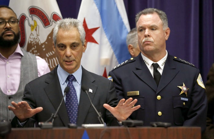 Chicago Mayor Rahm Emanuel, left, and Police Superintendent Garry McCarthy address the media prior to releasing the video.