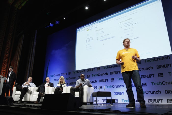 Zenefits founder Parker Conrad speaks at a conference in New York in 2013.
