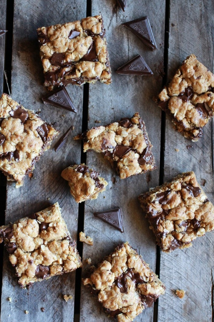 Lots of oats, a little whole wheat flour, and some coconut oil are the healthier swaps that make these (still decadent) cookie bars a little more wholesome. Recipe here.
