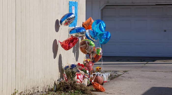 A makeshift memorial where Tyshawn Lee was fatally shot in Chicago.