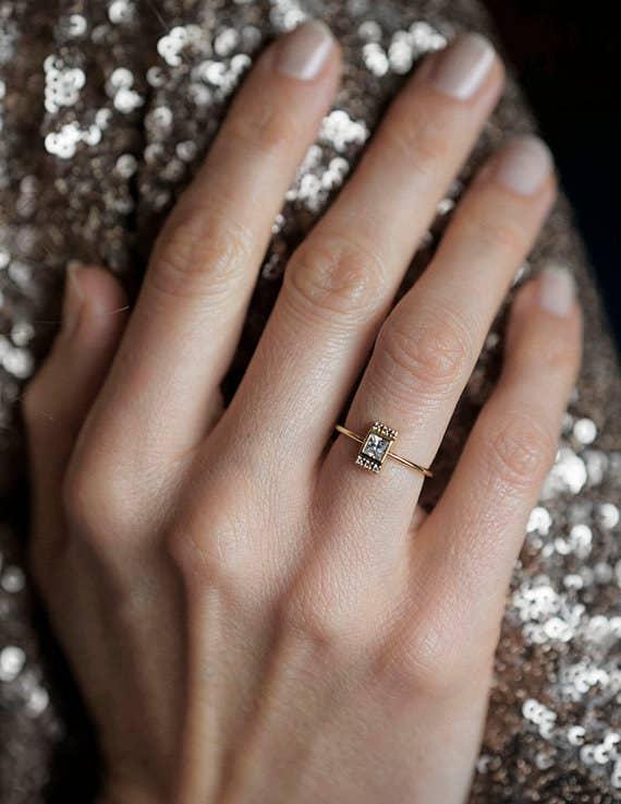 this dainty princess cut diamond ring - Dainty Wedding Rings