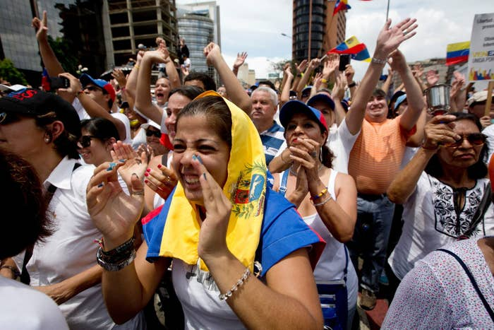 Demonstrators during an anti-government protest in Caracas, Venezuela in May