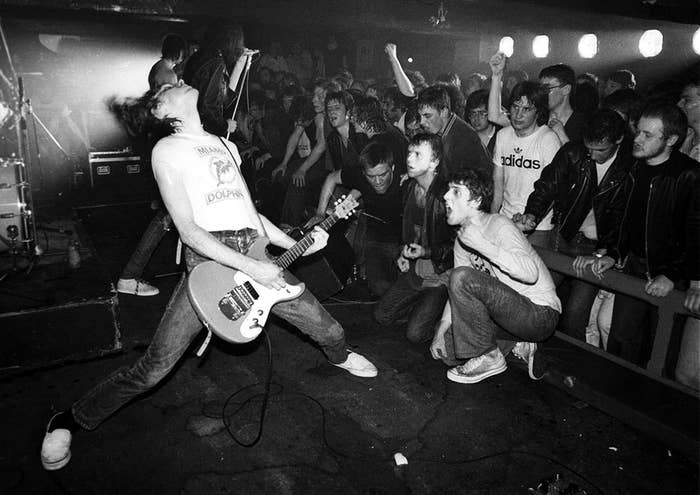 The Ramones playing at Eric's Club in Liverpool, England, 1977.