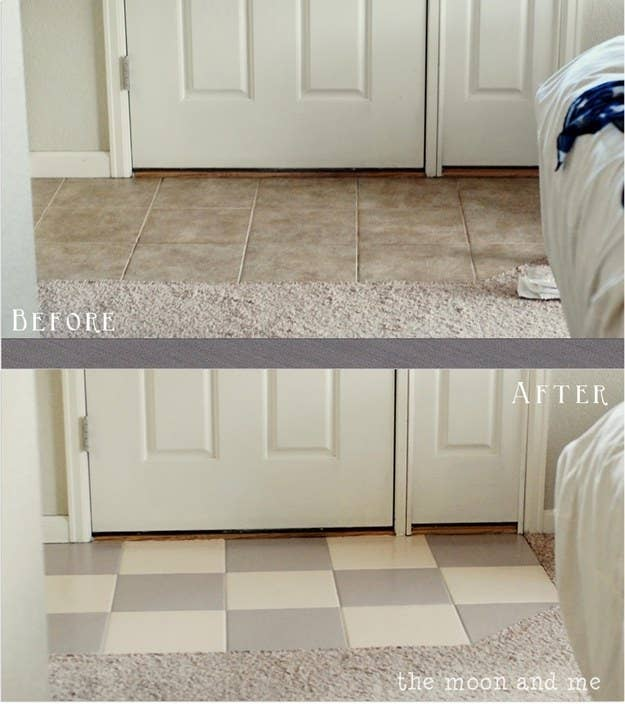 If you don't want to fully replace any tiled floors, you can actually paint them to look fresh and clean. See how here.