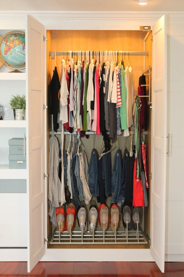 Turn your office or den into a useable bedroom by either adding a closet, or a freestanding wardrobe. Or, use this Ikea wardrobe hack to create this DIY closet.