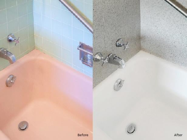If you don't want to buy a whole new tub, older (or dated color) tubs can actually be painted. Learn how here.