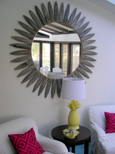 Mirrors are the simplest way to make any space feel bigger and lighter. Learn how to make this giant sunburst version here.