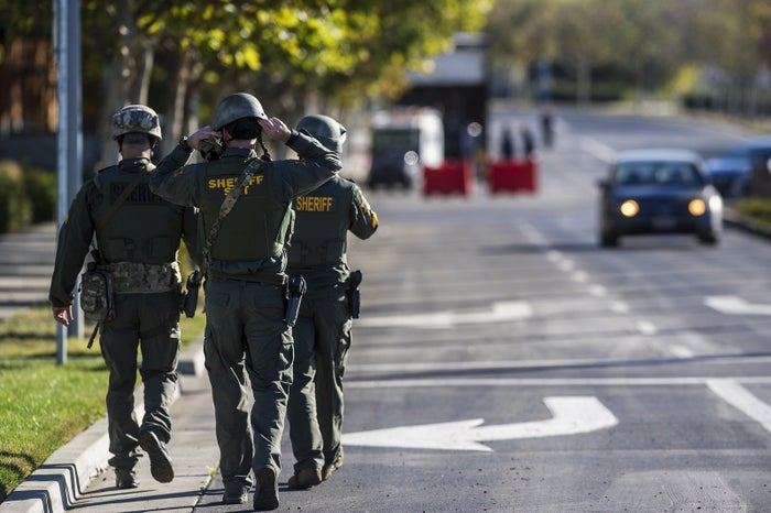 Merced County Sheriff SWAT members enter the University of California, Merced campus after a reported stabbing Wednesday.