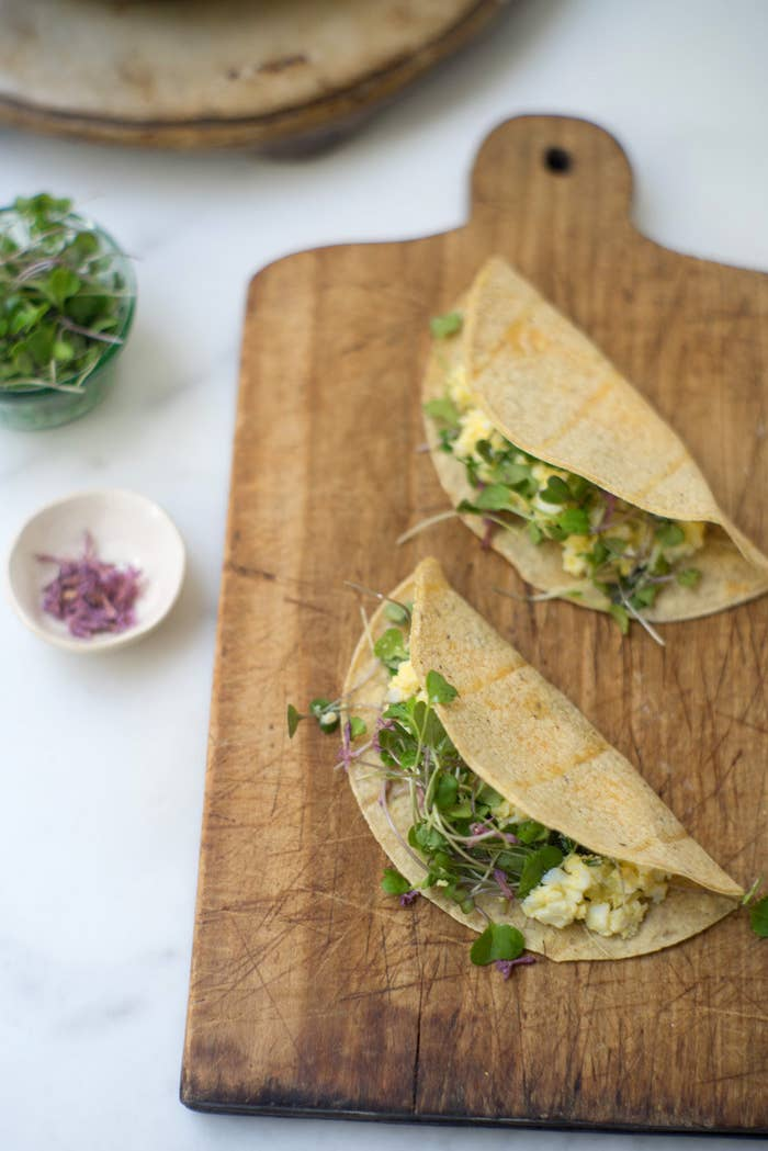 These breakfast tacos are delicious and sophisticated — they've got a tangy yogurt sauce and micro-greens. Get the recipe here.