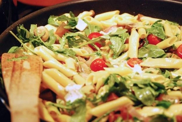 Arugula, Brie and Mushroom Pasta