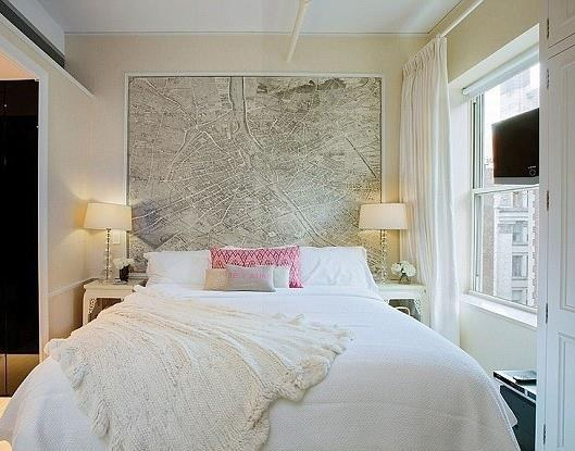 Put a map behind your bed for a DIY headboard.