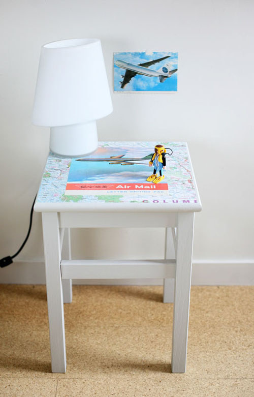Or use two coats of Mod Podge to make a nighstand look THAT much cuter.