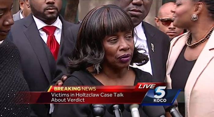 J.L. speaks during a press conference after ex-officer Daniel Holtzclaw's trial ended.