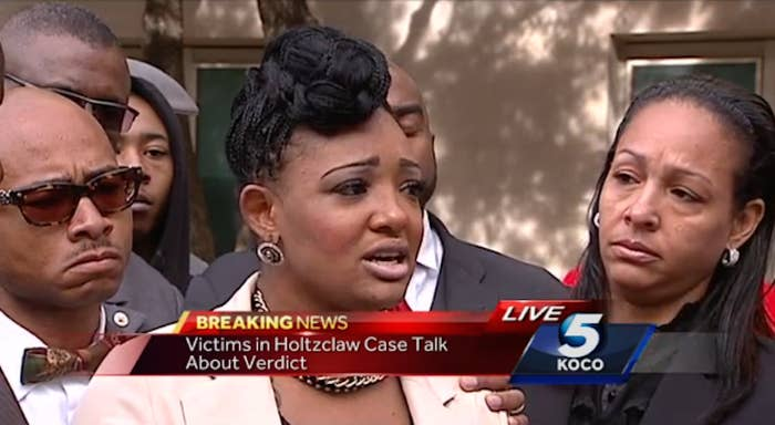 S.H. speaks during a press conference the day after Daniel Holtzclaw's trial ended.