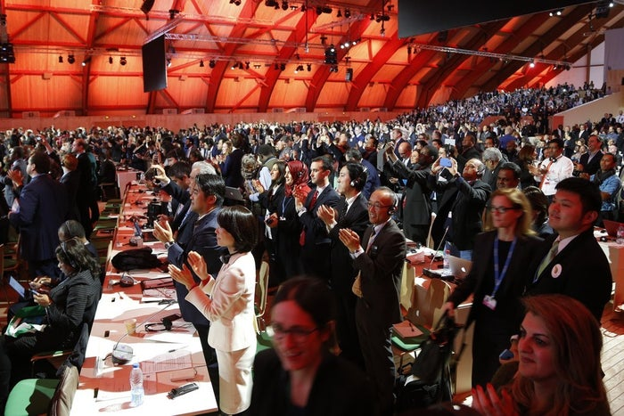 Audience members and delegates cheer after the deal was adopted.