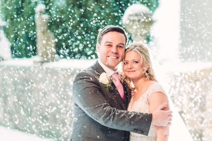 She and her husband, Chris, married at Lartington Hall, Barnard Castle, in the northeast of England. Their photographer Paul Liddement told BuzzFeed Life that Carly had a snowy wedding on her mind ever since she booked her winter date.