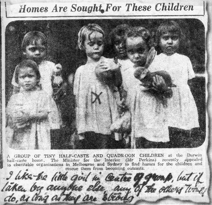 Members of the stolen generation in a 1930s Darwin newspaper advertisement.