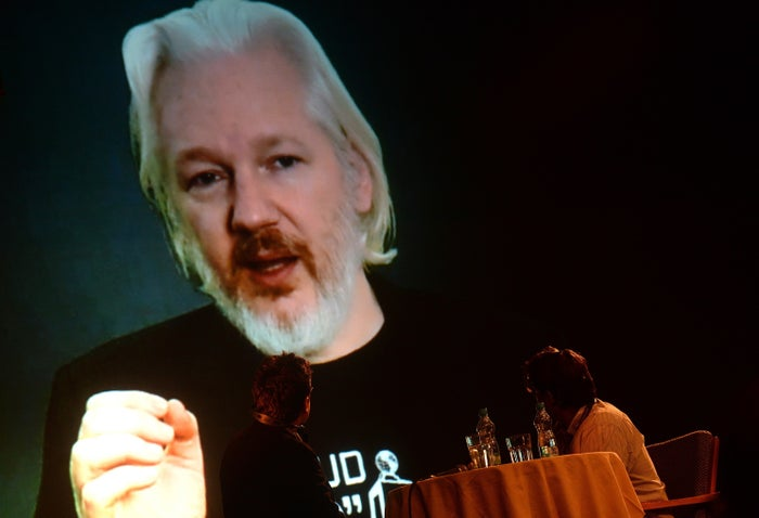 Julian Assange, pictured speaking to a conference by videolink from the Ecuadorian embassy in London in October 2015.
