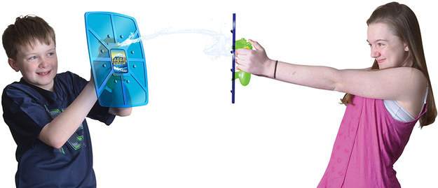 A squirting shield that functions as offense *and* defense during a water fight.