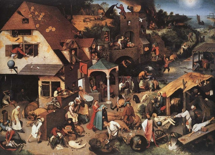 "It has many names, including Netherlandish Proverbs, The Topsy Turvy World, and The Blue Cloak. The 16th century painting is filled with scenarios that represent various proverbs, such as ""To bang one's head against a brick wall,"" which roughly translates to ""To try to achieve the impossible."""
