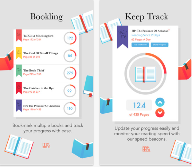Bookling ($1, iOS) can motivate you to read more with little reminders and progress trackers.