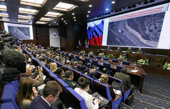 Russia's defense ministry accused Turkish President Recep Tayyip Erdogan of profiting from ISIS' oil trade on Wednesday, but offered no evidence to substantiate its claim.