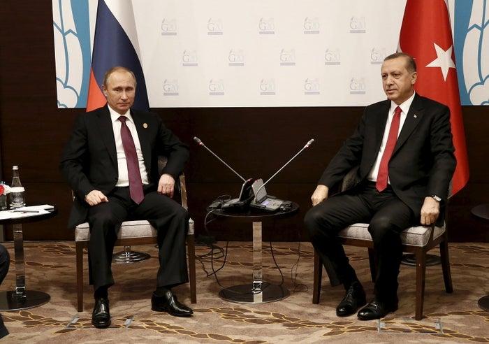 Turkey's President Tayyip Erdogan meets with his Russian counterpart Vladimir Putin in November