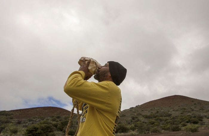 Kupono Mele-Ana-Kekua, 35, has been camping on the mountain in protest of the Thirty Meter Telescope.