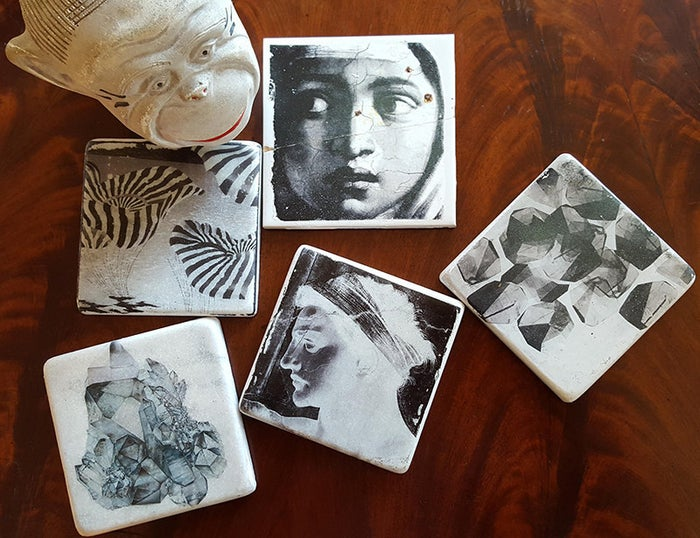 A cool technique to transfer photos and images to marble coasters.