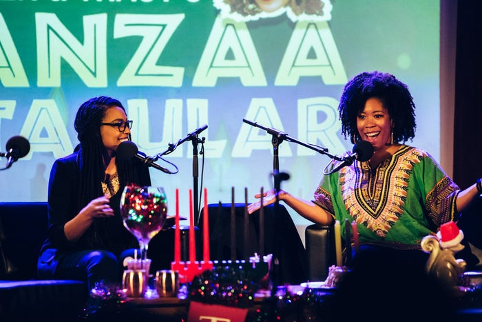 We threw a pair of live shows in New York—Heben & Tracy's Kwanzaa Spectacular—with special guests, Kwanzaa cake, live music and more. They were recorded at the Jerome L. Greene Space on Dec. 2, 2015, and the Bell House on Dec. 5, 2015.