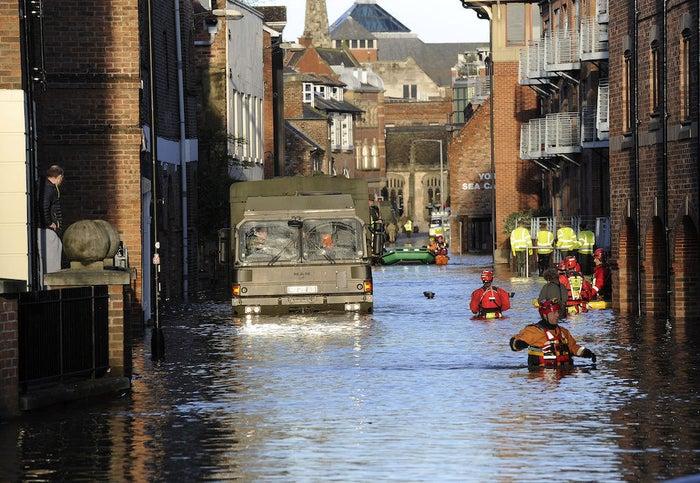 Army and rescue teams patrol York city centre.