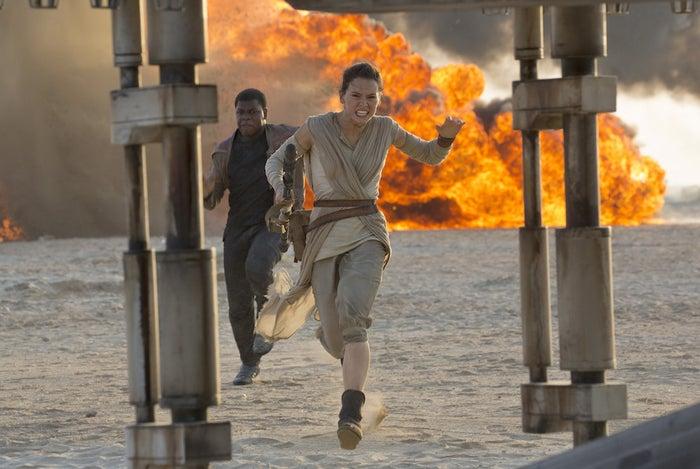 John Boyega and Daisy Ridley in The Force Awakens