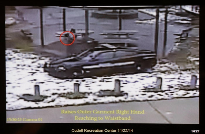 This Nov. 26, 2014 file photo shows a still image taken from a surveillance video recorded on Nov. 22, 2014, that was played at a news conference held by Cleveland Police.