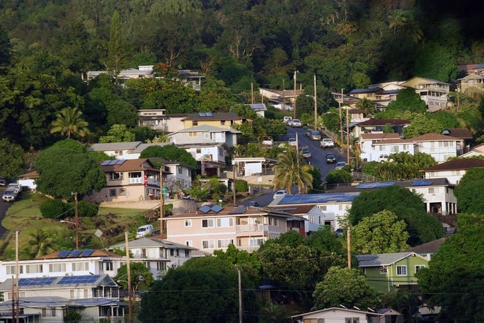 Houses in the the Hawaiian homestead community of Papakolea in Honolulu.