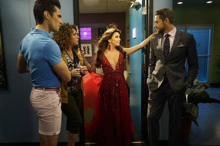 Longoria in the middle as Ana Sofia Calderon on Telenovela, with, from left, Jose Moreno Brooks as Gael Garnica, Diana Maria Riva as Mimi Moncada, and Zachary Levi as James McMann.