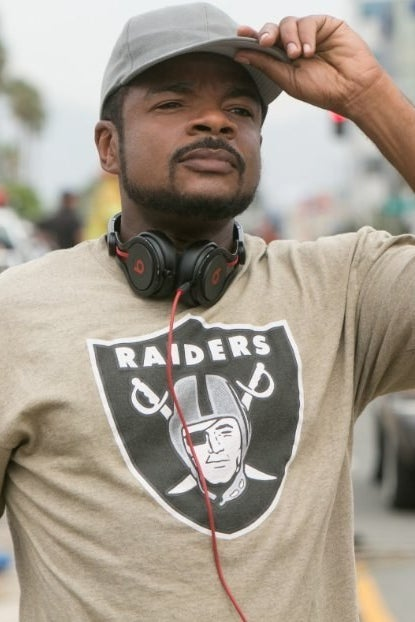 F. Gary Gray on the set of Straight Outta Compton