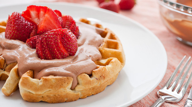 19. Strawberry Waffles with Nutella Whipped Cream