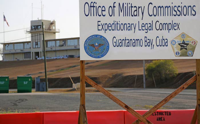 A sign outside the Courthouse One Expeditionary Legal Complex at Guantanamo Bay