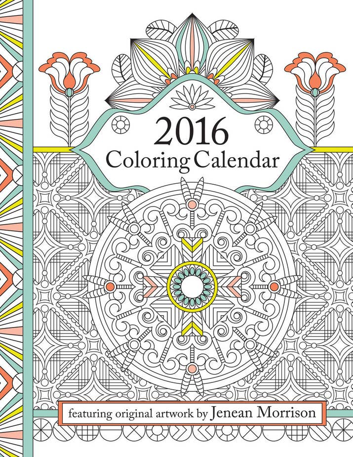 2016 Coloring Calendar An Adult By Jenean Morrison