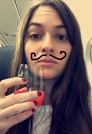 Jen's mustache paired well with the raspberry lemonade.