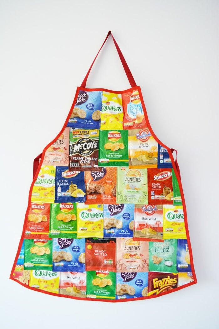 Binge on a couple dozen bags of chips late last night? Turn your regret into a handy apron gift. Tutorial here.