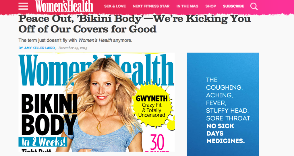 """A Popular Women's Magazine Is Banning """"Bikini Body"""" And """"Drop 2 Sizes"""" From Its Cover"""