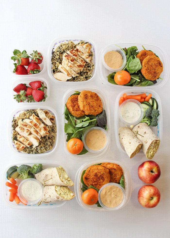 Here are 7 healthy lunches you can make ahead of time. And, if you don't care about variety, just make big batches of your favorite protein, vegetables, and maybe a grain, then divvy them up.
